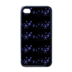 Xmas elegant blue snowflakes Apple iPhone 4 Case (Black)