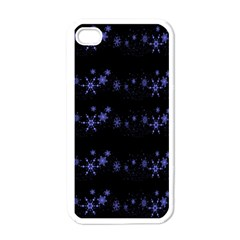 Xmas elegant blue snowflakes Apple iPhone 4 Case (White)