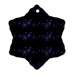 Xmas elegant blue snowflakes Snowflake Ornament (2-Side)