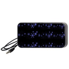 Xmas elegant blue snowflakes Portable Speaker (Black)