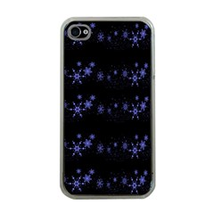 Xmas elegant blue snowflakes Apple iPhone 4 Case (Clear)