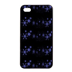 Xmas elegant blue snowflakes Apple iPhone 4/4s Seamless Case (Black)