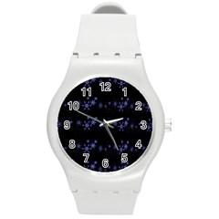 Xmas elegant blue snowflakes Round Plastic Sport Watch (M)