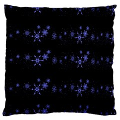 Xmas elegant blue snowflakes Large Cushion Case (Two Sides)