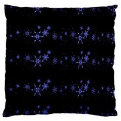Xmas elegant blue snowflakes Large Cushion Case (Two Sides)