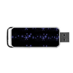 Xmas elegant blue snowflakes Portable USB Flash (One Side)