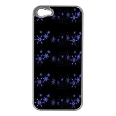 Xmas elegant blue snowflakes Apple iPhone 5 Case (Silver)