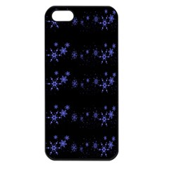Xmas elegant blue snowflakes Apple iPhone 5 Seamless Case (Black)