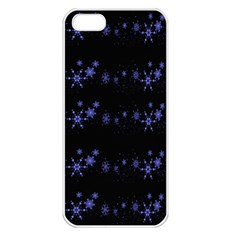 Xmas elegant blue snowflakes Apple iPhone 5 Seamless Case (White)
