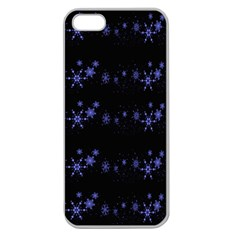 Xmas elegant blue snowflakes Apple Seamless iPhone 5 Case (Clear)