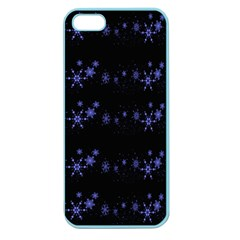 Xmas elegant blue snowflakes Apple Seamless iPhone 5 Case (Color)