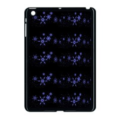 Xmas elegant blue snowflakes Apple iPad Mini Case (Black)