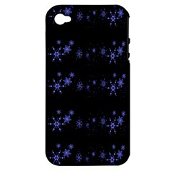 Xmas elegant blue snowflakes Apple iPhone 4/4S Hardshell Case (PC+Silicone)