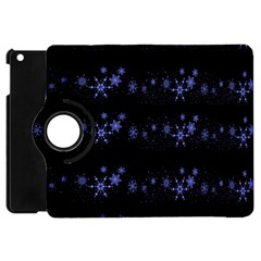 Xmas elegant blue snowflakes Apple iPad Mini Flip 360 Case