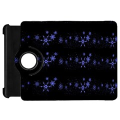 Xmas elegant blue snowflakes Kindle Fire HD Flip 360 Case