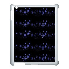 Xmas elegant blue snowflakes Apple iPad 3/4 Case (White)