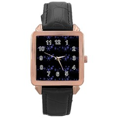 Xmas elegant blue snowflakes Rose Gold Leather Watch