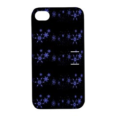 Xmas elegant blue snowflakes Apple iPhone 4/4S Hardshell Case with Stand