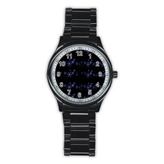 Xmas elegant blue snowflakes Stainless Steel Round Watch