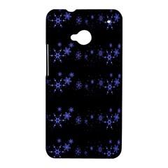 Xmas elegant blue snowflakes HTC One M7 Hardshell Case