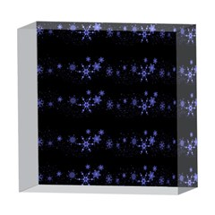 Xmas elegant blue snowflakes 5  x 5  Acrylic Photo Blocks