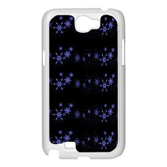 Xmas elegant blue snowflakes Samsung Galaxy Note 2 Case (White)