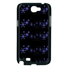 Xmas elegant blue snowflakes Samsung Galaxy Note 2 Case (Black)