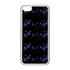 Xmas elegant blue snowflakes Apple iPhone 5C Seamless Case (White)