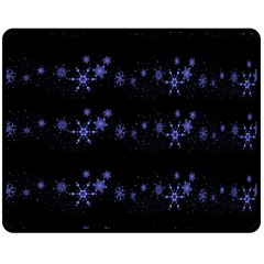 Xmas elegant blue snowflakes Double Sided Fleece Blanket (Medium)