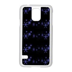 Xmas elegant blue snowflakes Samsung Galaxy S5 Case (White)