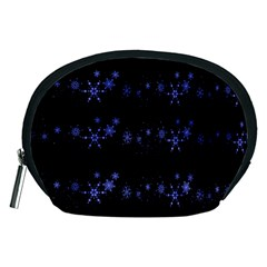 Xmas elegant blue snowflakes Accessory Pouches (Medium)