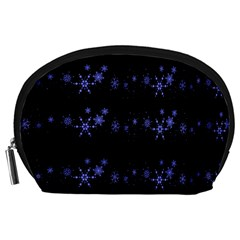 Xmas elegant blue snowflakes Accessory Pouches (Large)