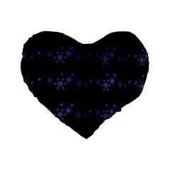 Xmas elegant blue snowflakes Standard 16  Premium Flano Heart Shape Cushions
