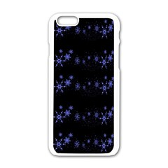 Xmas elegant blue snowflakes Apple iPhone 6/6S White Enamel Case