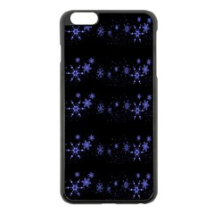 Xmas elegant blue snowflakes Apple iPhone 6 Plus/6S Plus Black Enamel Case