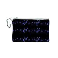 Xmas elegant blue snowflakes Canvas Cosmetic Bag (S)