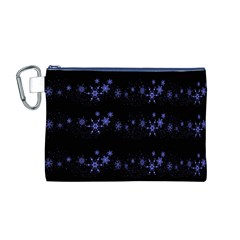 Xmas elegant blue snowflakes Canvas Cosmetic Bag (M)