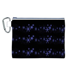 Xmas elegant blue snowflakes Canvas Cosmetic Bag (L)