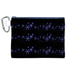 Xmas elegant blue snowflakes Canvas Cosmetic Bag (XL)