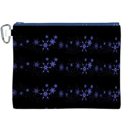 Xmas elegant blue snowflakes Canvas Cosmetic Bag (XXXL)