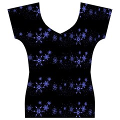 Xmas elegant blue snowflakes Women s V-Neck Cap Sleeve Top