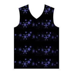 Xmas elegant blue snowflakes Men s Basketball Tank Top