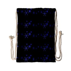 Xmas elegant blue snowflakes Drawstring Bag (Small)