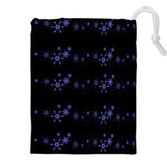 Xmas elegant blue snowflakes Drawstring Pouches (XXL)