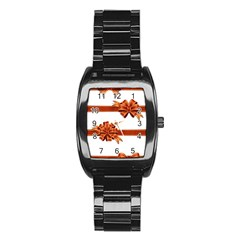 Gift Ribbons Stainless Steel Barrel Watch