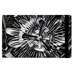 Black And White Passion Flower Passiflora  Apple Ipad 2 Flip Case