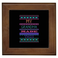 My Grandma Made This Ugly Holiday Black Background Framed Tiles