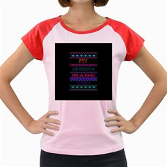 My Grandma Made This Ugly Holiday Black Background Women s Cap Sleeve T Shirt
