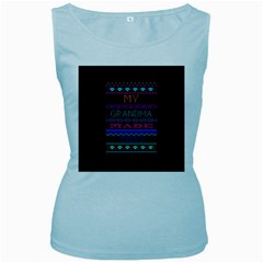 My Grandma Made This Ugly Holiday Black Background Women s Baby Blue Tank Top
