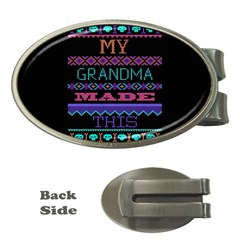 My Grandma Made This Ugly Holiday Black Background Money Clips (Oval)